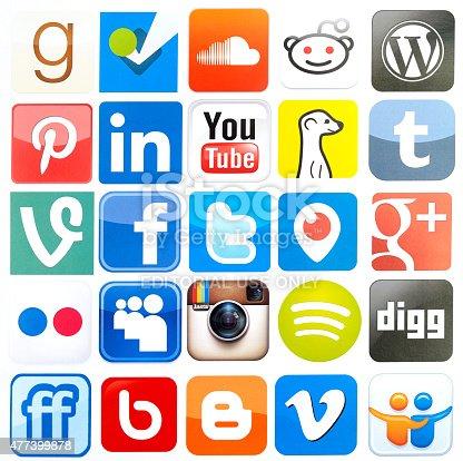 İstanbul, Turkey - June 13, 2014: Popular social media icons, including Facebook, Foursquare, Vine, Instagram, Youtube, Periscope, Pinterest, Tumblr,  Twitter, Blogger, Google Plus, Vimeo, WordPress, LinkedIn, Spotify on white paper.