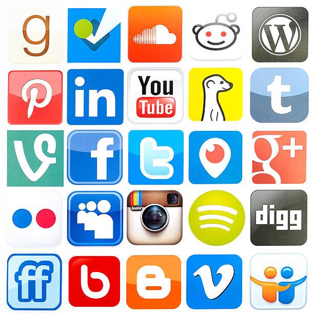 Popular social media icons stock photo