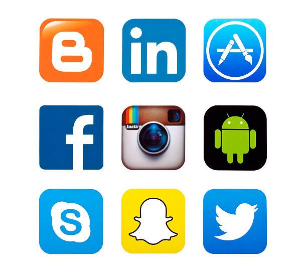 popular social media icons - linkedin bildbanksfoton och bilder