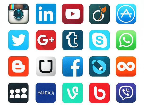 人気のソーシャルメディアのアイコン ストックフォト