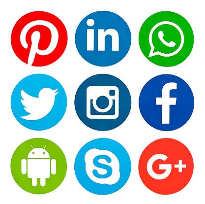 Kiev, Ukraine - February 15, 2016: Set of most popular social media icons: Facebook, Twitter,Youtube, Pinterest, Instagram, Google Plus, Linkedin, WhatsApp, Android printed on paper.