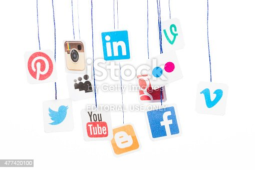 istock Popular social media website logos printed on paper and hanging 477420100
