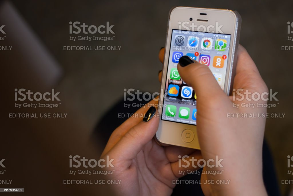 Popular social networks on the smartphone screen stock photo