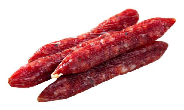 populares salchichas de bocadillos españoles secallones - fuet sausages fotografías e imágenes de stock
