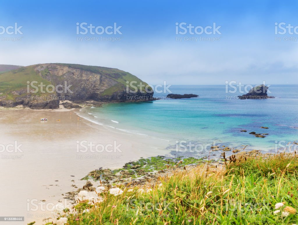 Popular St Agnes and Chapel Porth Atlantic ocean coast, Cornwall, England, United Kingdom stock photo