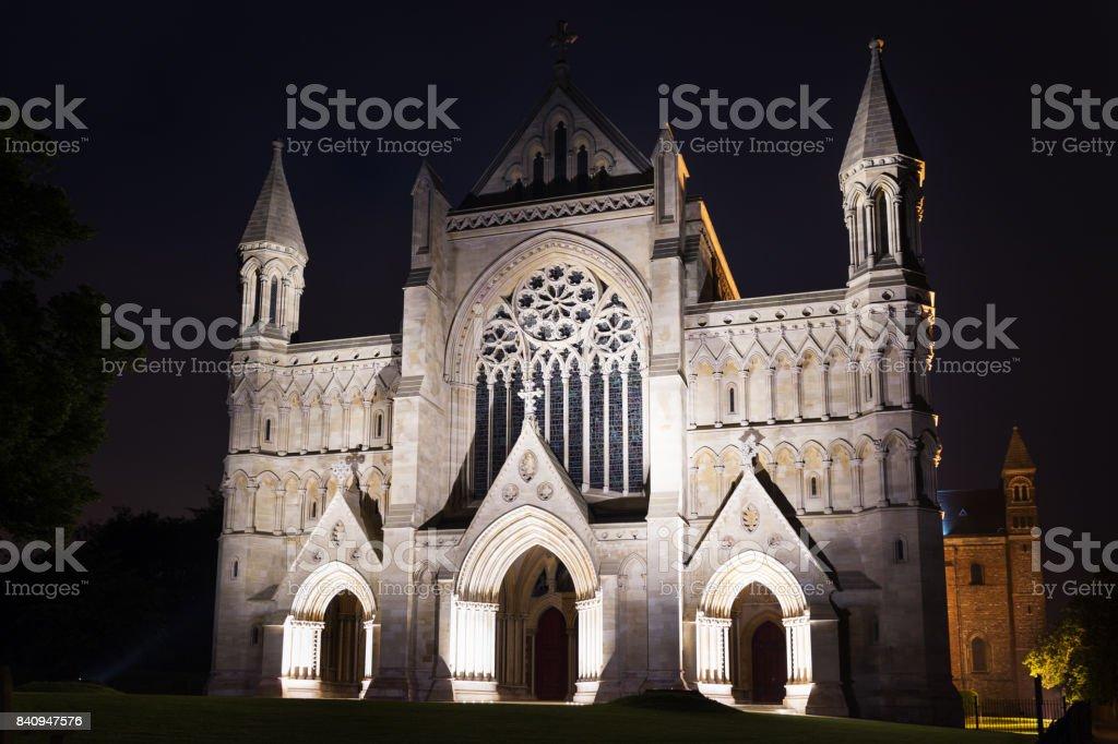 Popular St Albans abbey church night lights stock photo