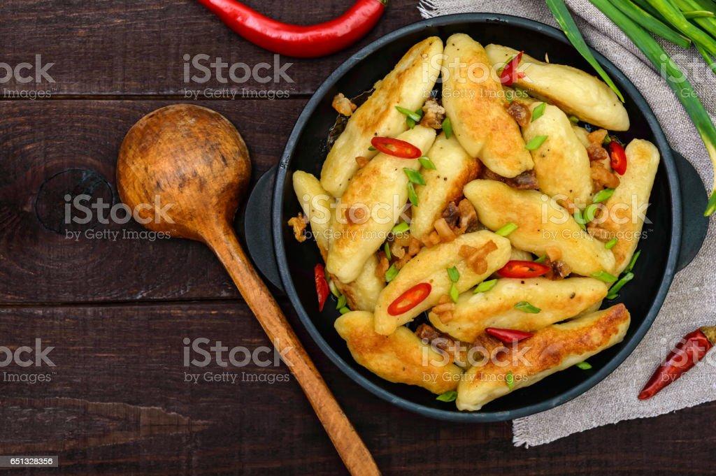 Popular traditional Czech, Hungarian, German dish: potato knedli (dumplings) stock photo
