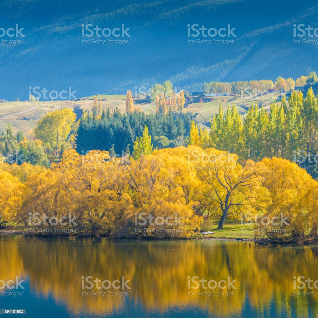 Popular view of hayes lake in new zealand stock photo