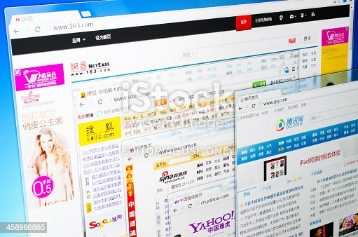 Shenzhen, China - March 24, 2013: Most popular web portals of China, including NetEase,Sohu,Sina,Yahoo.cn and QQ.com
