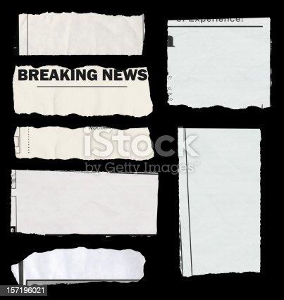 """istock """"Populated"""" newspaper tears - on black 157196021"""