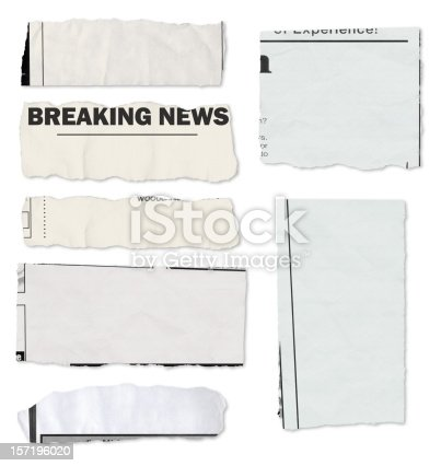A variety of newspaper tears on white with drop shadows. Each one has a slightly different texture and color to look realistic.
