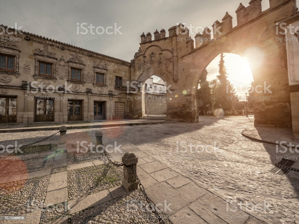 Populo townsquare in Baeza Jaen Andalusia Spain. This beautiful square from the XVI century is one of the reasons that this town was declared  World Heritage Site by UNESCO stock photo