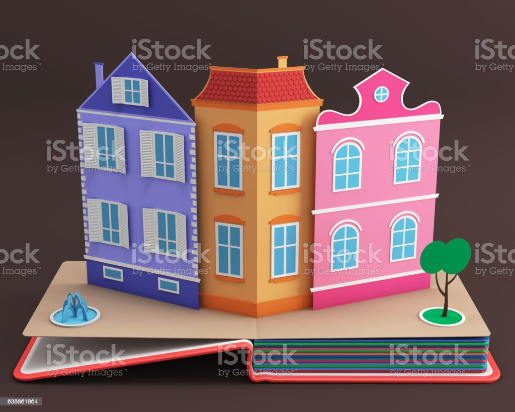 Pop-up book with vintage street stock photo