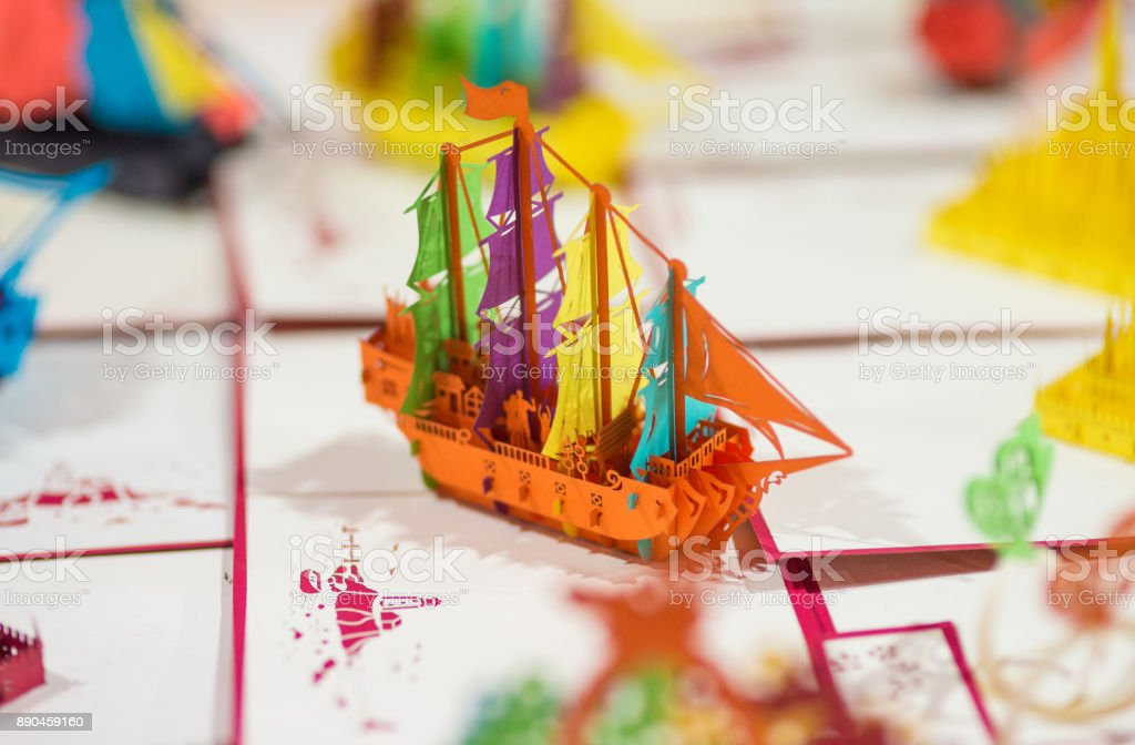 Pop-up Cards with a Ship Souvenir crafts in Laos stock photo