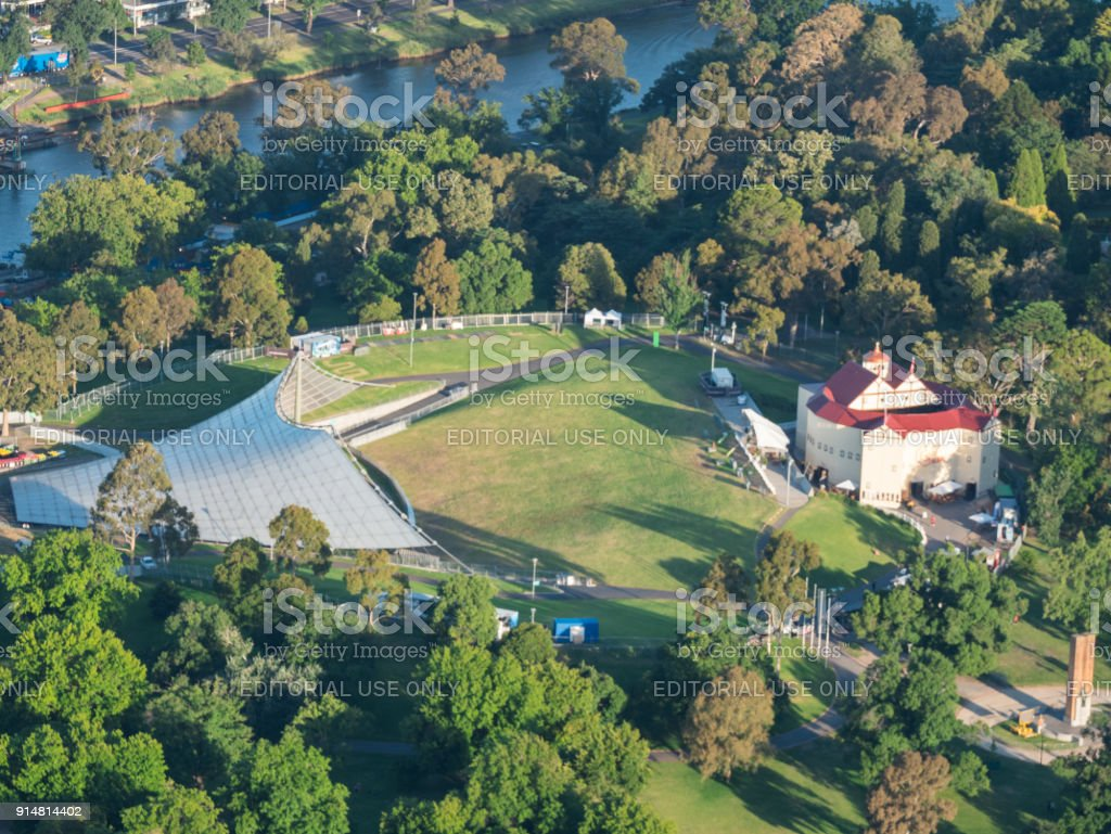 Pop-up Globe Theatre at the Sidney Myer Music Bowl in Melbourne stock photo
