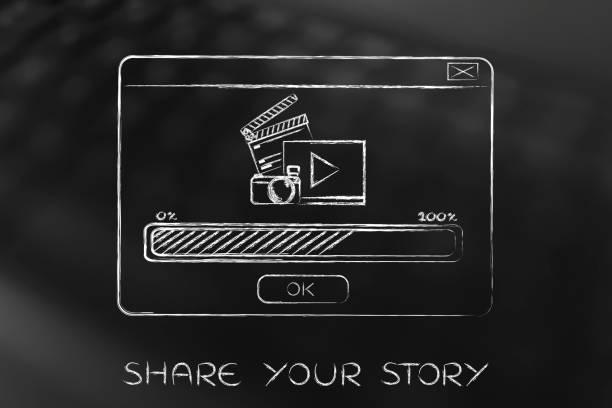 pop-up mit video upload icons und fortschrittsbalken - pop up stock-fotos und bilder