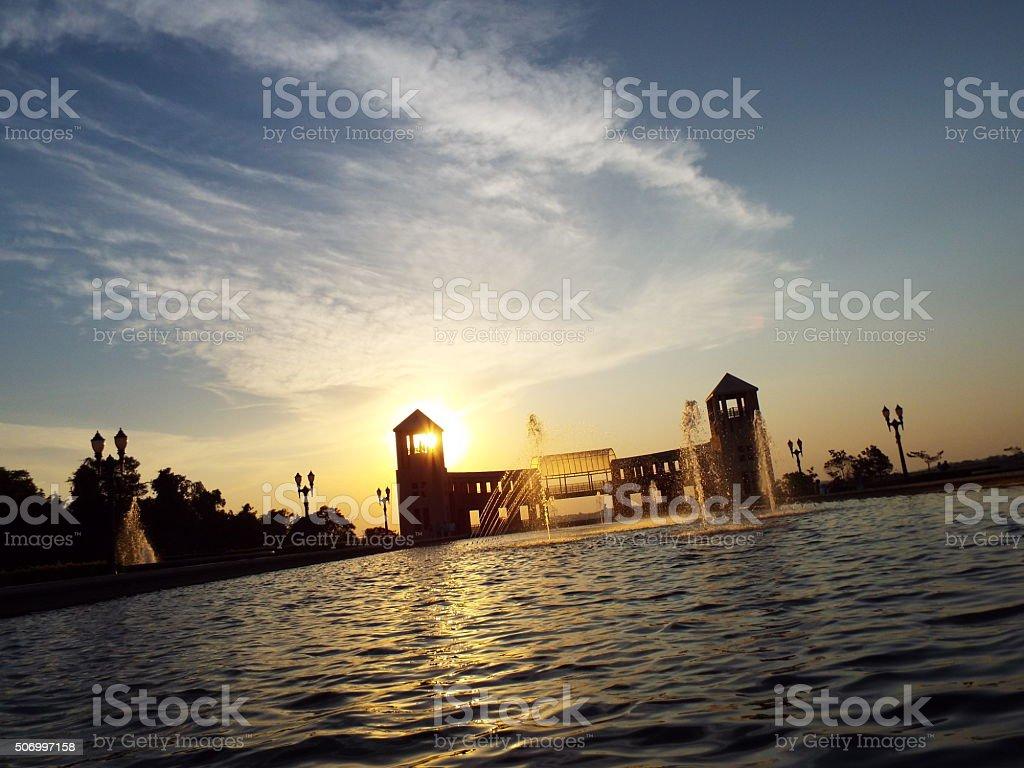 Por do sol Parque Tanguá stock photo