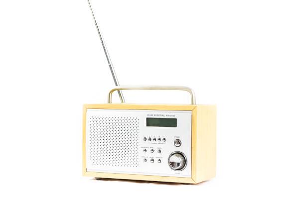 Porable DAB Digital radio diagonal  front view stock photo