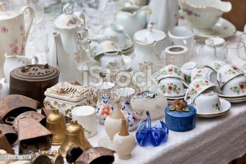 Antique porcelain at a flea market. Horizontal shot