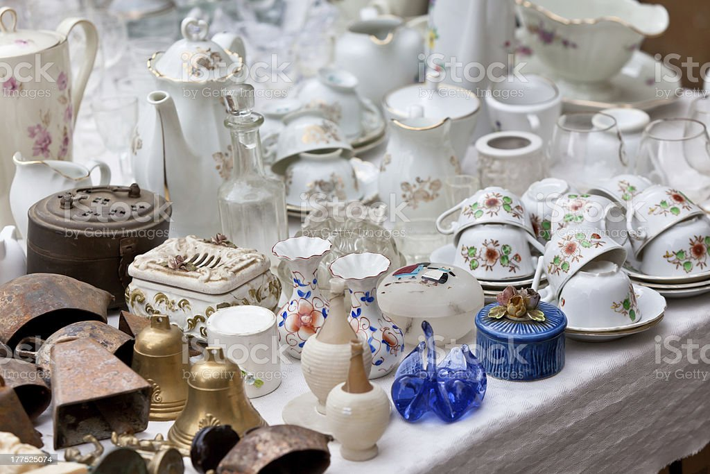 Porcelain at a flea market stock photo