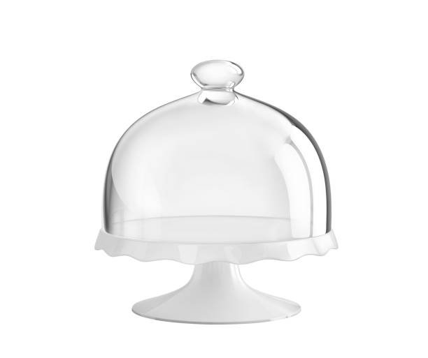 Porcelain cake stand with glass bell jar stock photo