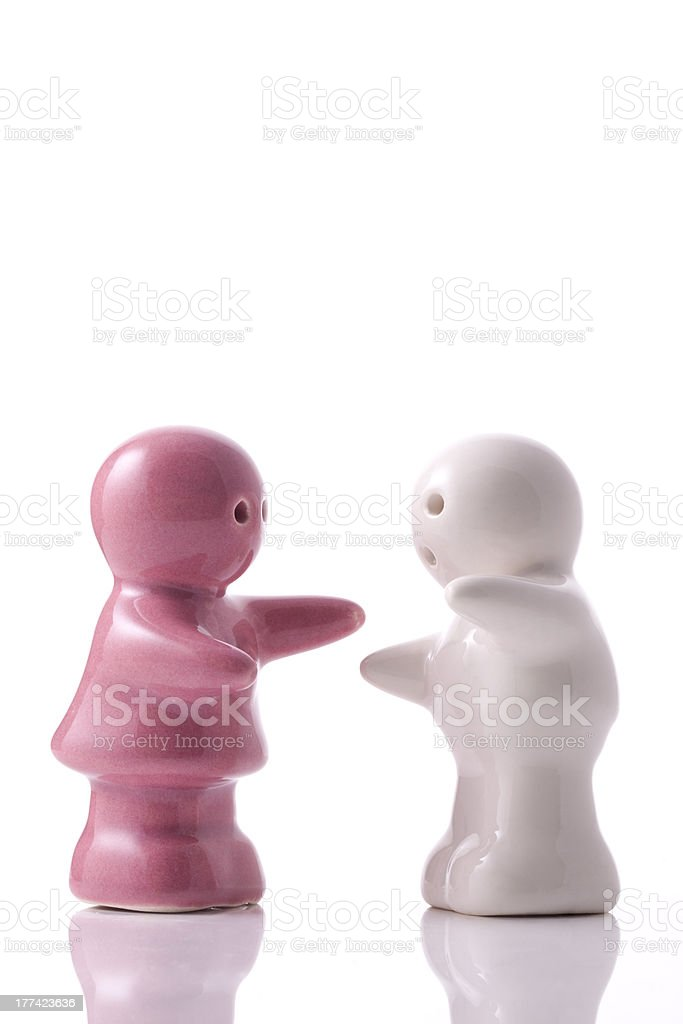 Porcelain couple ready to hug royalty-free stock photo