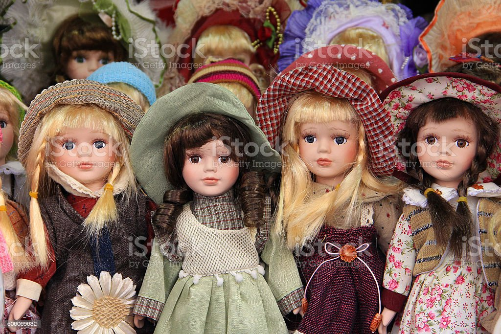 Porcelain dolls in Prague market, sold as souvenirs stock photo