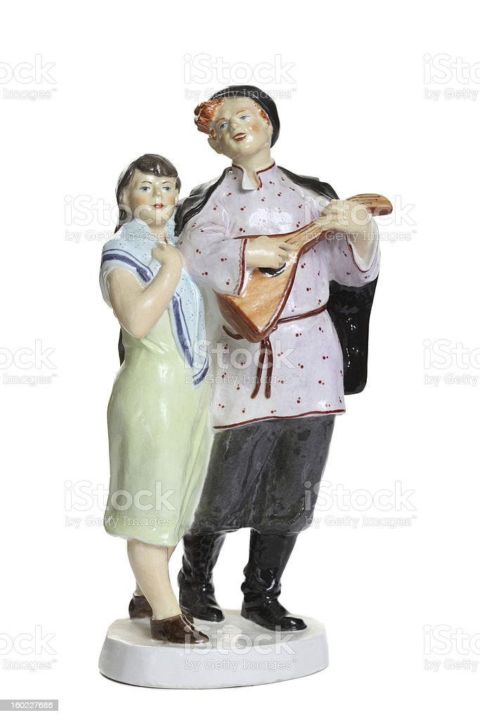 porcelain figurine a walking couple royalty-free stock photo