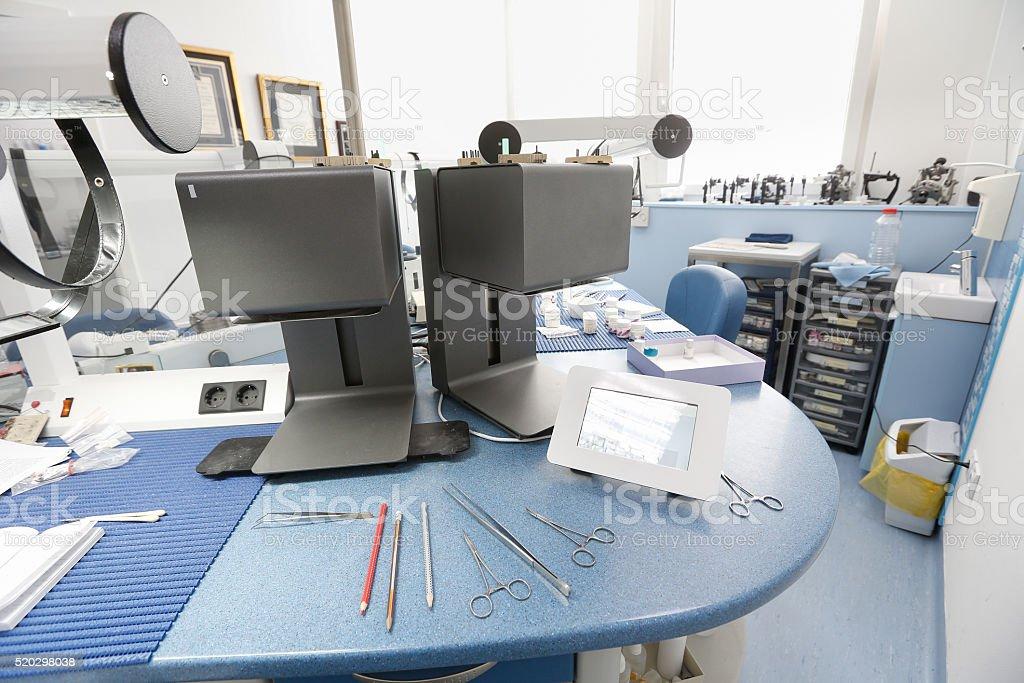 Porcelain furnace in a hi-tech dental laboratory stock photo