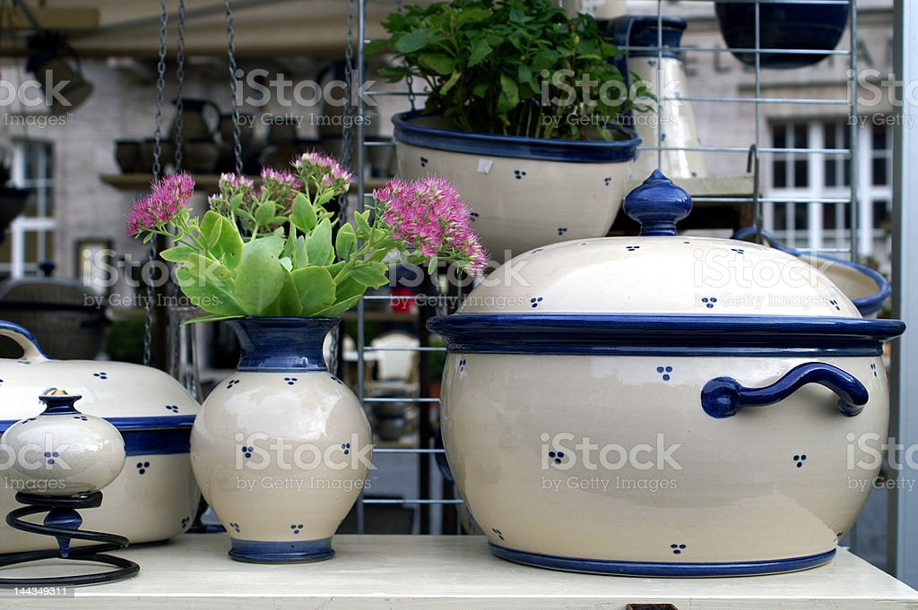 Porcelain on a market stock photo