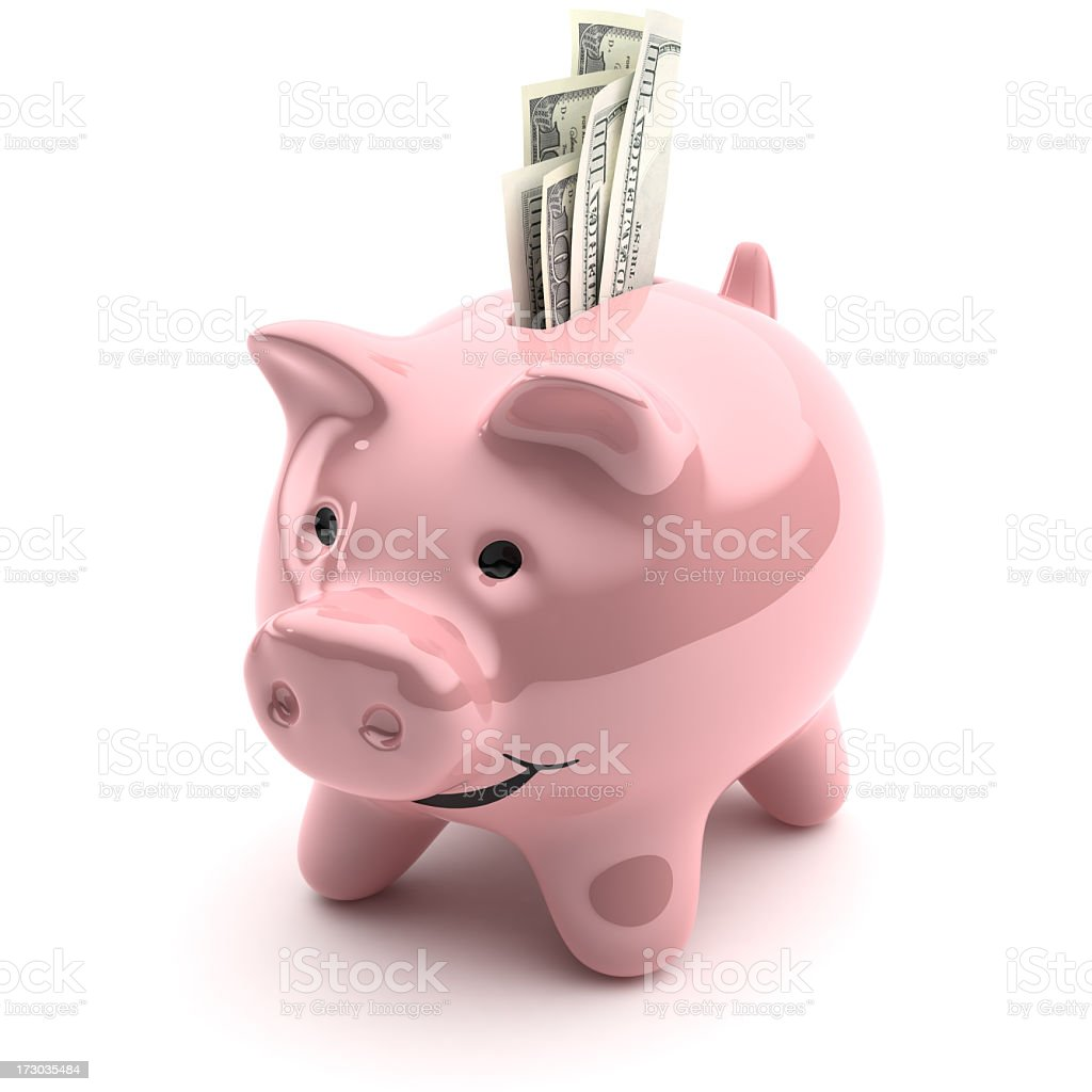 Porcelain piggy bank with money sticking out of the top stock photo
