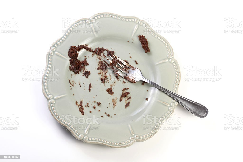 Porcelain plate with fork and pieces of chocolate cake stock photo
