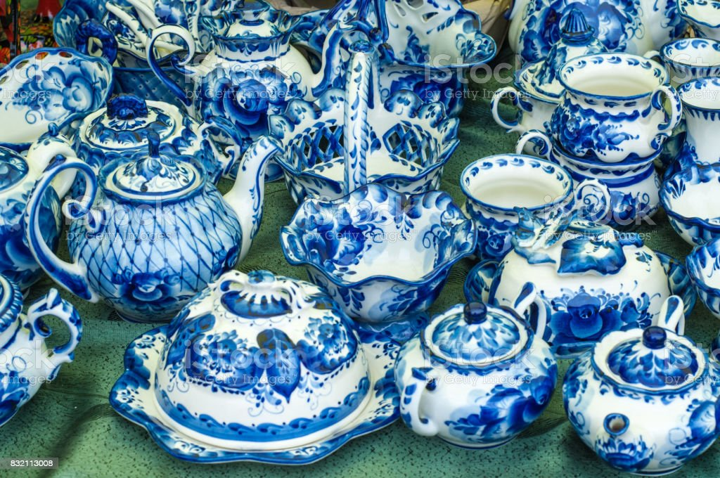 Porcelain tea set, ceramic. Painted blue paints, Russian folk art Gzhel stock photo