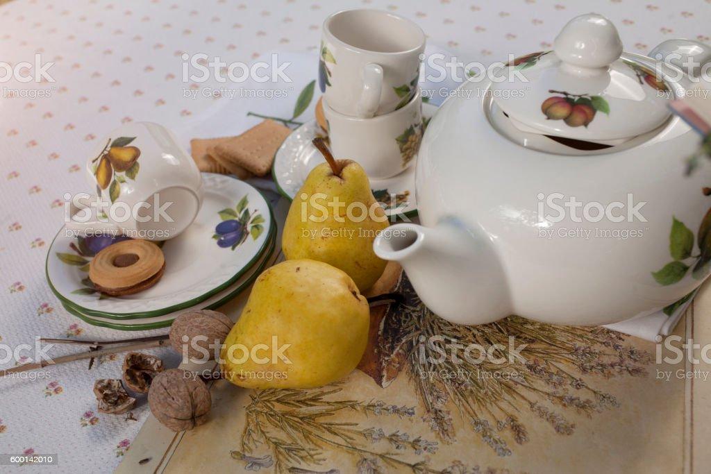 Porcelain tea set on a table stock photo