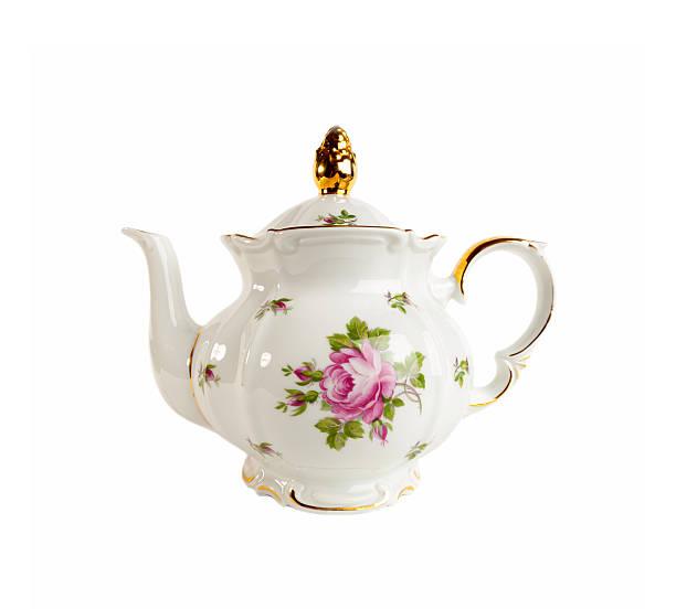 porzellan-teekanne im klassischen stil auf weiß - keramikteekannen stock-fotos und bilder