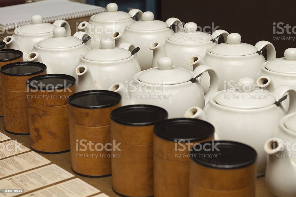porcelain teapots with tea stock photo