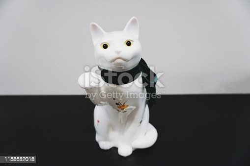 Porcelain White Cat Sculpture Statue isolated
