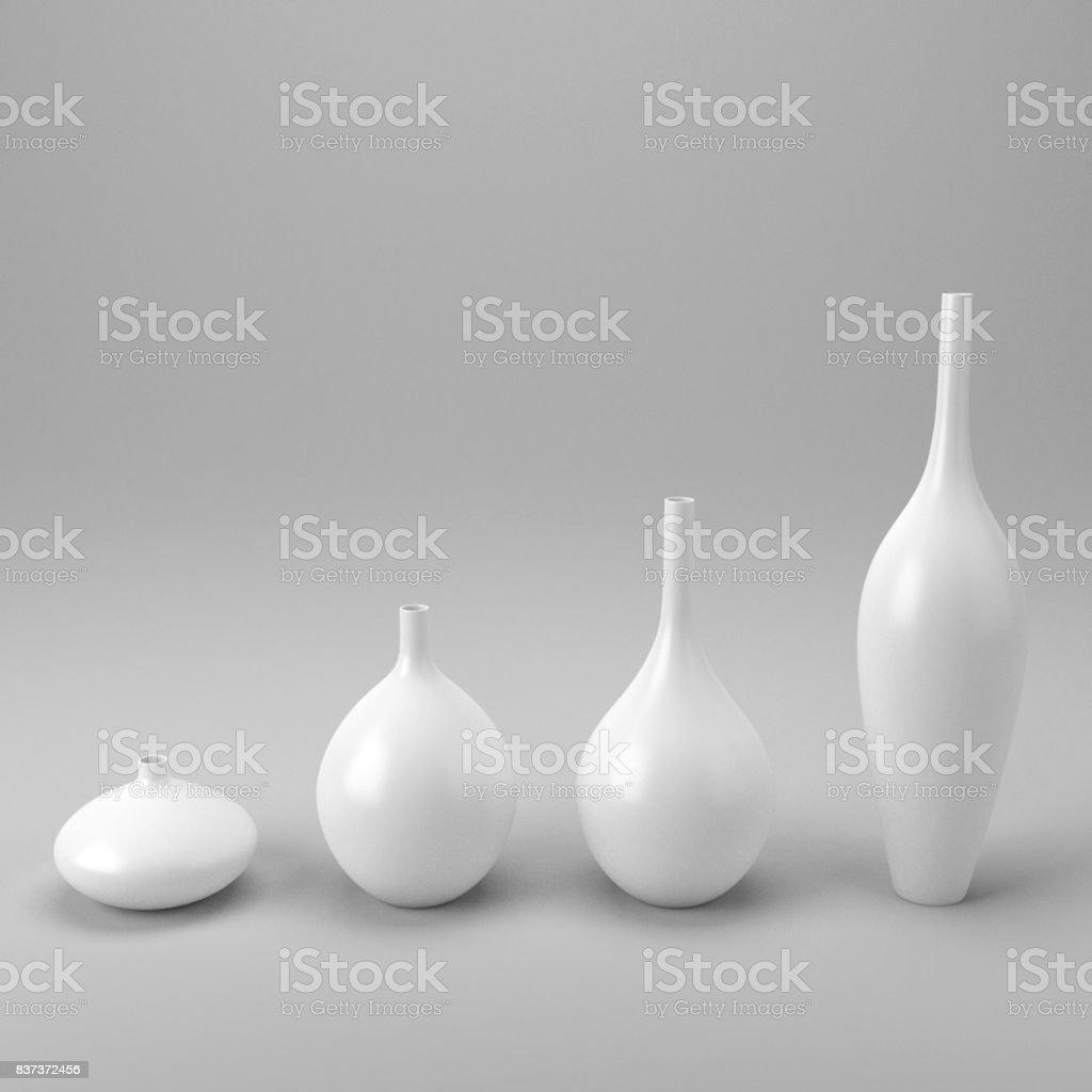 Porcelain White Decor Vases Decoration stock photo