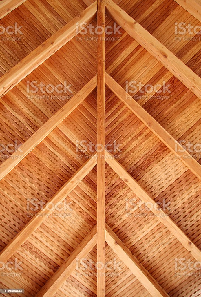 Porch Ceiling Fir Tongue And Groove Bead Board Stock Photo