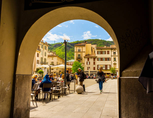 Porch in Como (Lombardy, Italy). stock photo