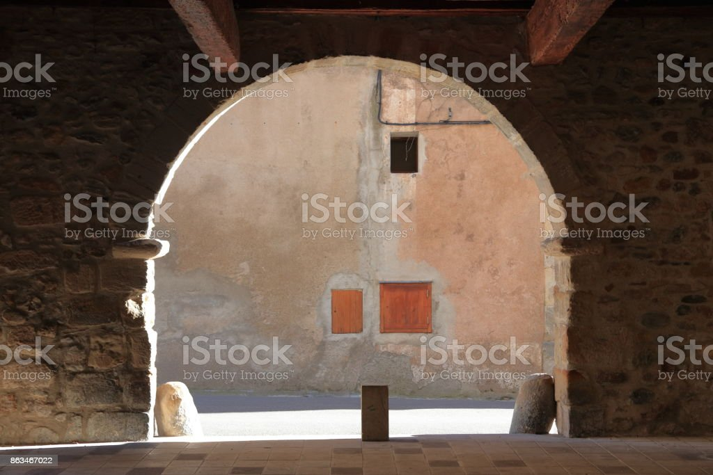 porch in french village of Alet les bains in Aude, France stock photo