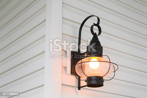 Subject: An old fashion sconce on a clapboard wall