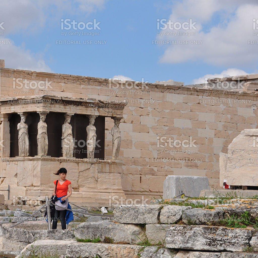 porch of caryatids royalty-free stock photo