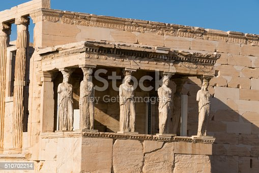 Porch of the Caryatids on the Erechtheion temple, Acropolis, Athens, Greece.