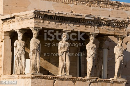 Athens, Greece- September 25, 2015: Porch of the Caryatids on the Erechtheion temple, Acropolis, Athens, Greece.