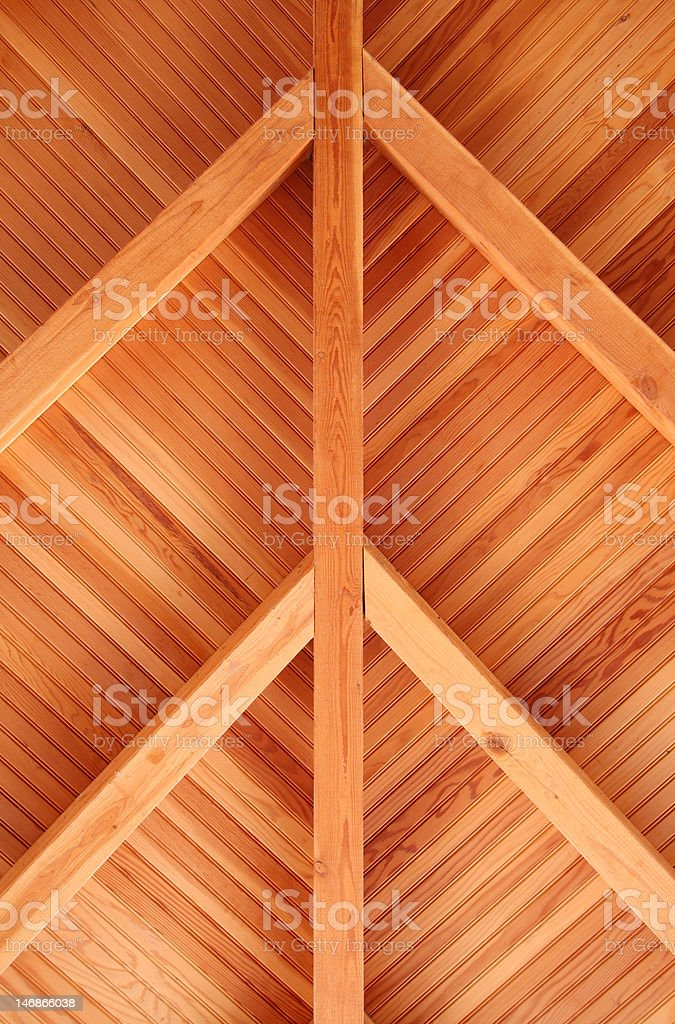 Porch Roof Fir Tongue And Groove Bead Board Stock Photo