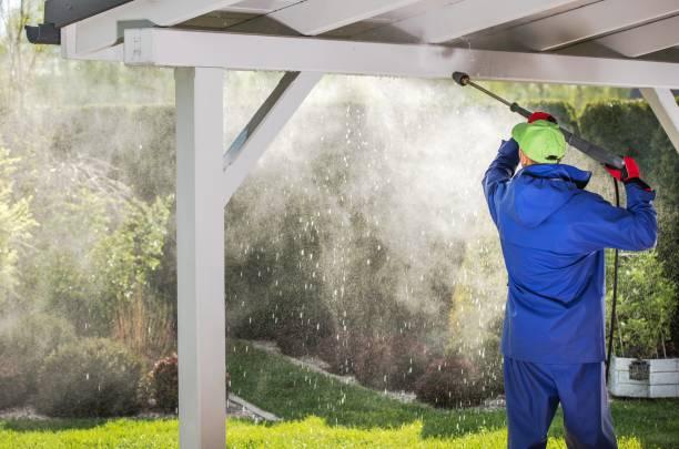 porch roof power cleaning - idropulizia ad alta pressione foto e immagini stock
