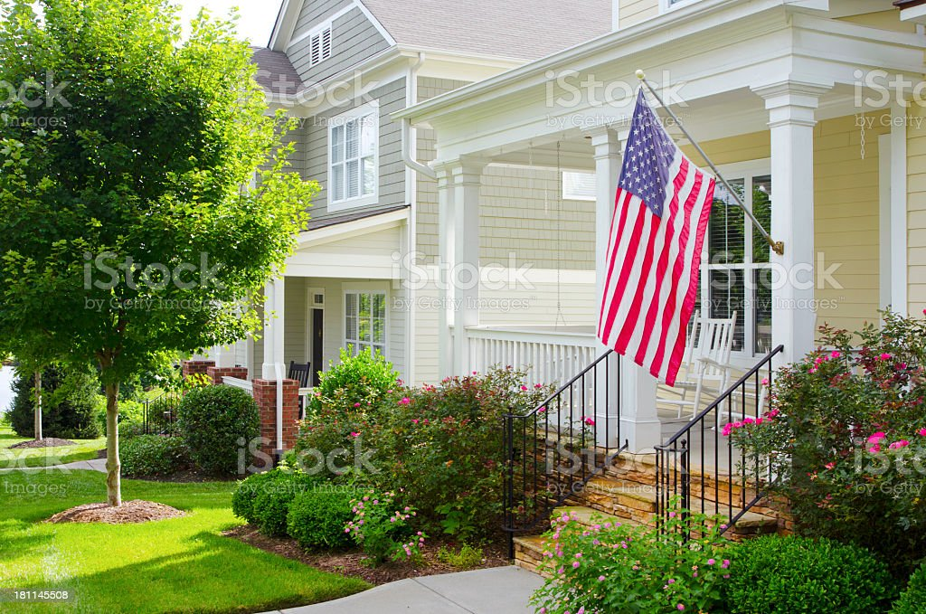 Porch with an American Flag stock photo