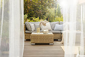istock Porch with coffee table 1219028740