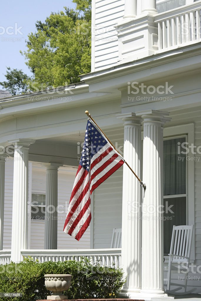 Porch with Flag royalty-free stock photo